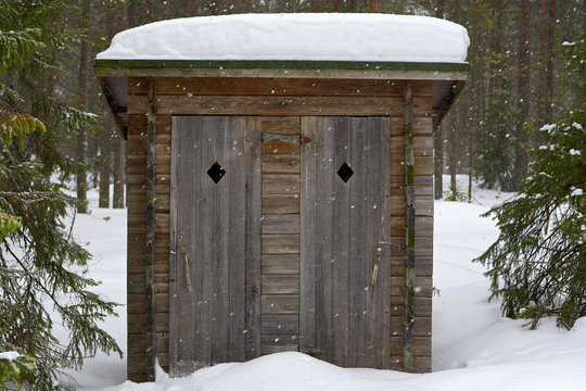 Open air toilet in forest.