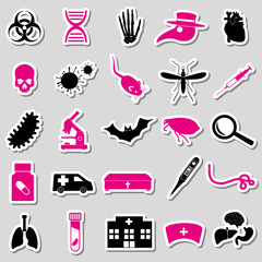 plague and disease theme simple stickers collection eps10