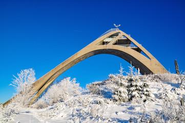 ski-jump in winterberg at wintertime, germany