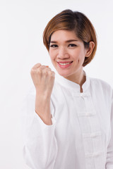 happy, strong, confident kungfu woman, self defense