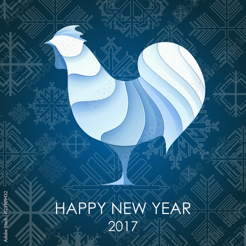 3d origami silhouette of cock or chicken happy new year card 2017