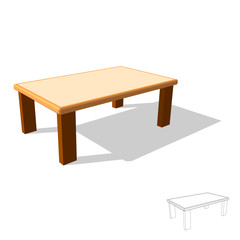Table. Isolated on white. 3d Vector illustration.