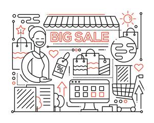 Big Sale - line design composition