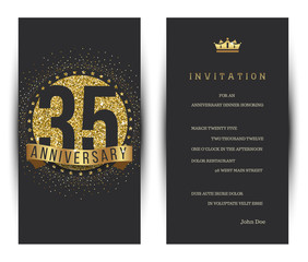 35th anniversary decorated greeting card template.