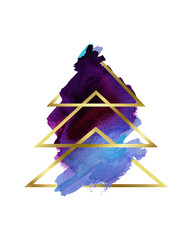 Watercolor. Stylized abstract Christmas tree purple and gold . Happy New Year and Merry Christmas. It can be used in print, greeting card, banner, background, business cards, wrapping paper or pattern