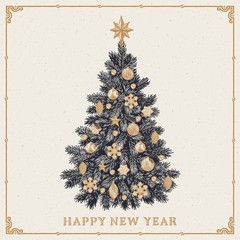 Christmas tree. Vintage greeting card with New Year inscription