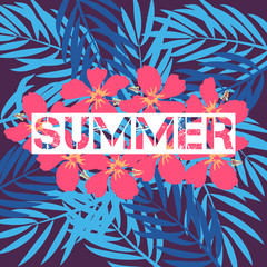 Summer print with palm sheets and hibiscus for a t-shirt. Vector background for fashion