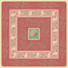 Design headscarf. The artwork in the style of Paisley. Square border of decorative elements Paisley.Vector image of template to print on fabric, textiles.