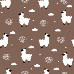 Seamless pattern polka dot with lama and clouds. Vector  background