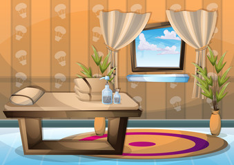 cartoon vector illustration interior spa room with separated layers in 2d graphic