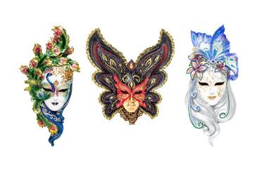 Venetian full-face masks for Carnival in street shop of Venice, Italy