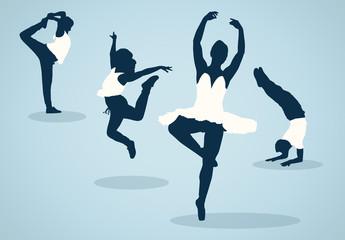 Ballet Dancer Silhouette Illustrations