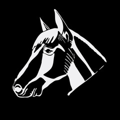 Logo, symbol, sign, stencil horse head.Unique technique. Vintage hand drawn style