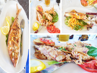fish and seafood at a greek tavern - Aegean sea fish photo collage