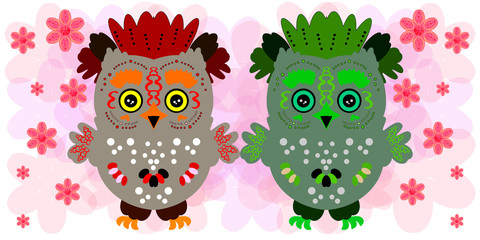 Two owls. Cute friends. Spring illustration
