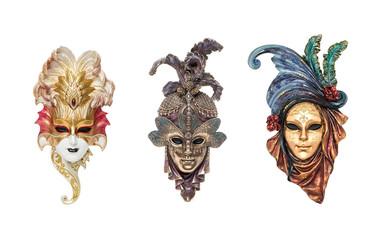 Venetian full-face masks for Carnival in Venice, Italy