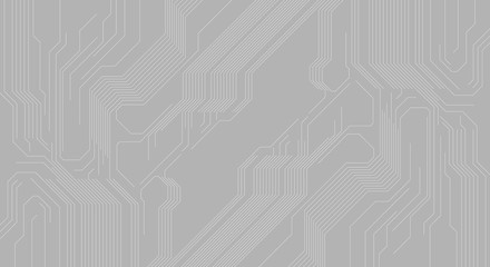 Grey abstract background with hi-tech circuit board chip