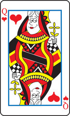 Cartoon illustration of a queen of hearts playing card.