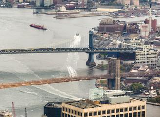 Fototapete - Manhattan and Brooklyn Bridges from the sky