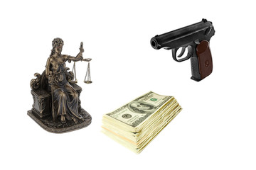 Figure of the goddess Themis, stack of dollars and a gun