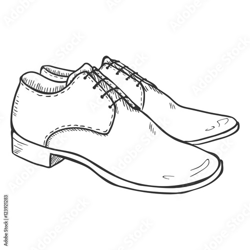 Mens Shoes Drawing Pair