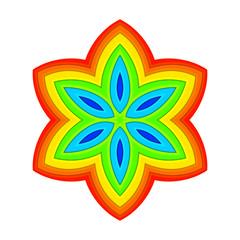 Vector rainbow symmetry ornament abstract beautiful design element