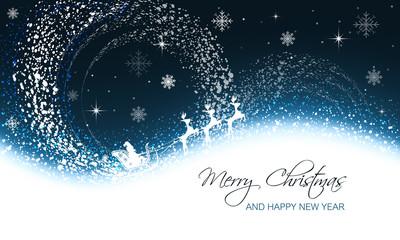 Christmas greeting card with snowfall, snowflakes, stars and Santa on sleigh with reindeer.