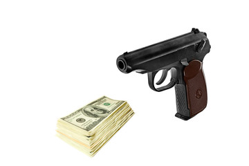 Stack of dollars and a gun