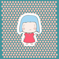 Cute Angry Gloomy Candy Blue Hair Cartoon Baby Girl