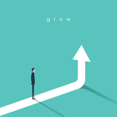 Business growth vector concept with businessman and vertical arrow going up.
