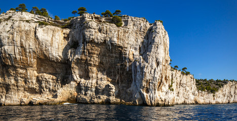 Vue from the sea on Calanques de Cassis, Calanques de Marseille, Provence, France