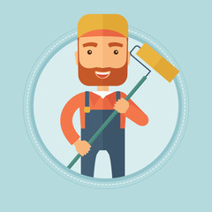 Painter with paint roller vector illustration.