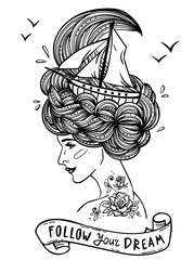 Hand drawn portrait of a dreaming young beautiful woman with ship in waves of curly sea-like hair and rose tattoo on her neck and shoulder. Zentangle, fashion, marine, postcard, vintage ribbon.