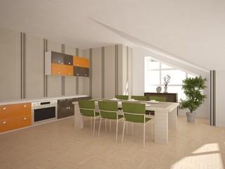 White interior design of kitchen