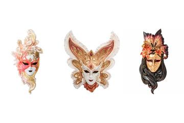 Venetian full-face masks for Venice Carnival, Italy