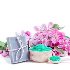 Garden Poster Pink Spa bath cosmetic. Soap beauty treatment