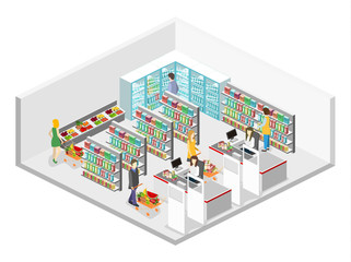 Isometric interior of grocery store. Shopping mall flat 3d isometric web vector illustration.