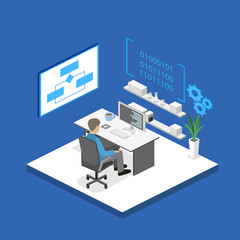 Flat 3D vector isometric concept illustration of office software developer and teamwork. .