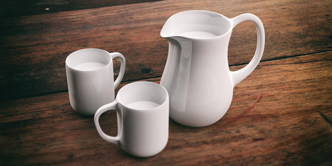 Jug and cups with milk. 3d illustration