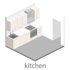 Isometric flat 3D interior of kitchen. full set of kitchen furniture vector ilustration.