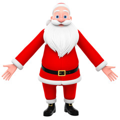 3d render illustration for advertising. Jolly Santa Claus on a w