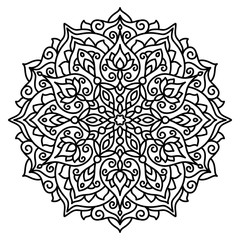 vector, contour, black and white illustration, design element, coloring page, mandala, floral pattern, ethnic style, boho style