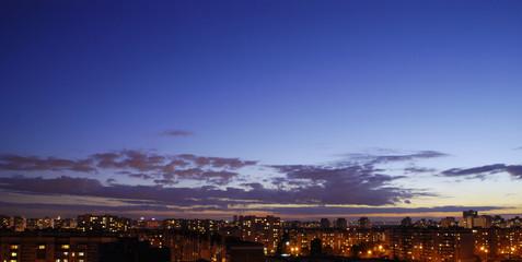 urban sunset. skyline panorama