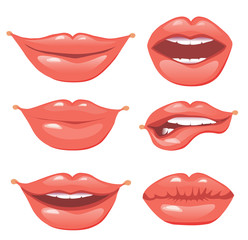 Set of vector female lips on a white background. Various emotions.