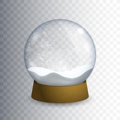 Christmas transparent snowglobe. Isolated on transparent background. Vector illustration, eps 10.
