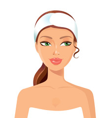 Woman perfect face with towel. Skin beauty spa skincare concept.