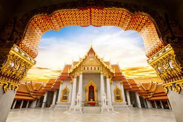 Tuinposter Temple Marble Temple of Bangkok, Wat Benchamabophit Dusitvanaram, Thailand