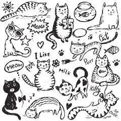 Set of hand draw funny cats in sketch style.