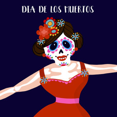 Dia de Los Muertos greeting card, invitation. Mexican Day of the Dead.  Woman with  flowers dressed as skeleton. Ornamental skul
