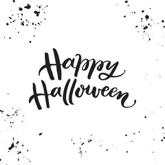 Happy Halloween - handdrawn phrase on white background with grunge texture. Vector lettering for greeting cards, poster or flyers.